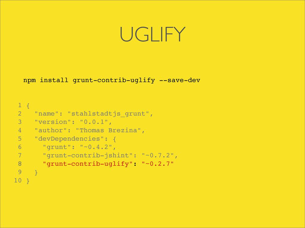 UGLIFY npm install grunt-contrib-uglify --save-...