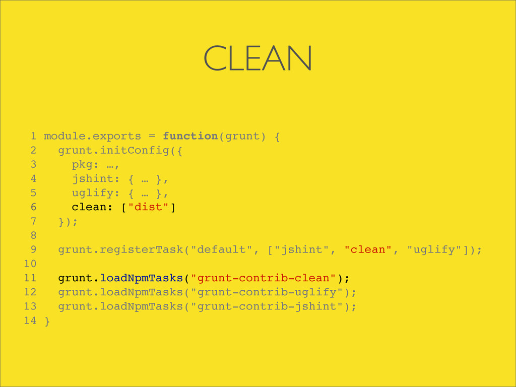 CLEAN 1 module.exports = function(grunt) { 2 gr...