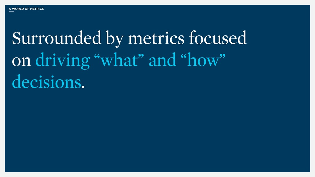 A WORLD OF METRICS Surrounded by metrics focuse...
