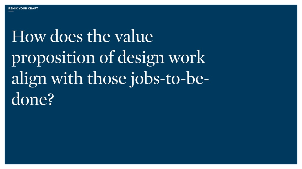 How does the value proposition of design work a...