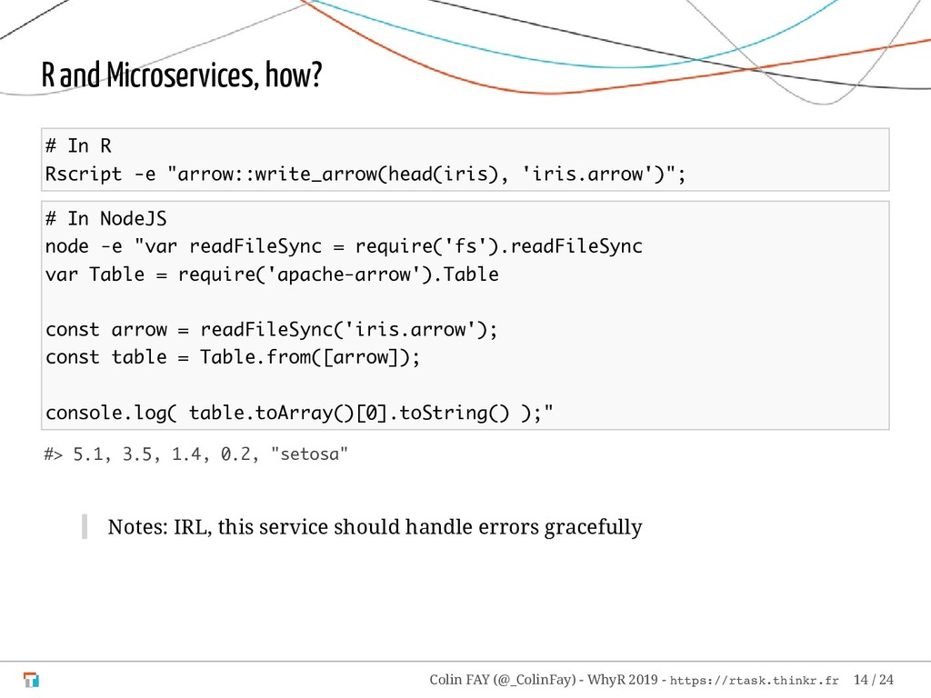 "R and Microservices, how? # In R Rscript -e ""ar..."