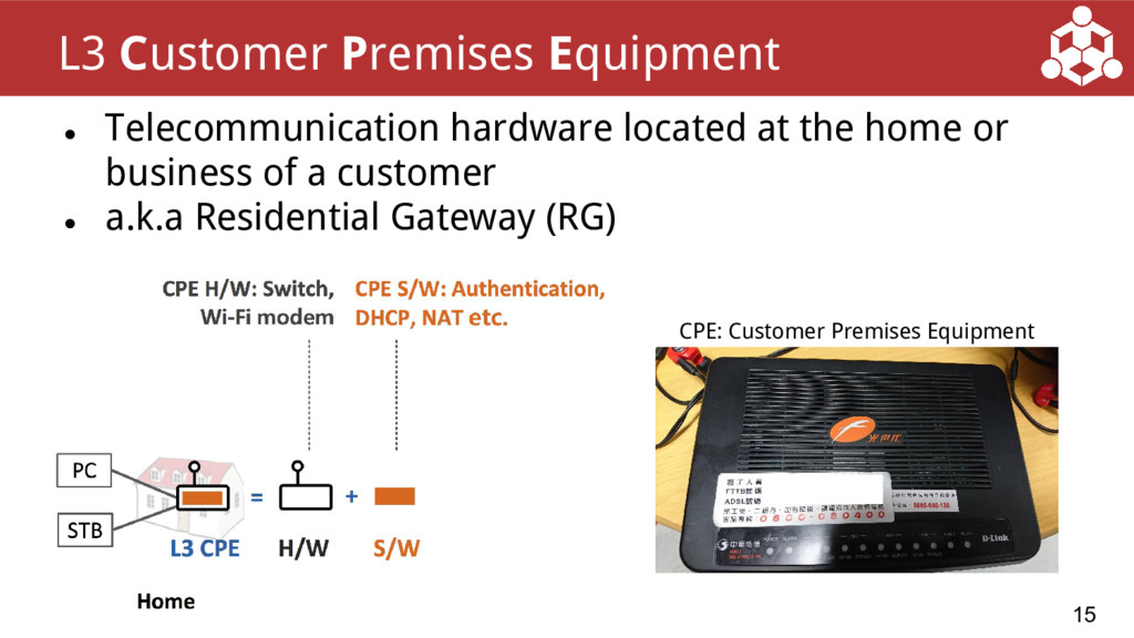 ● Telecommunication hardware located at the hom...