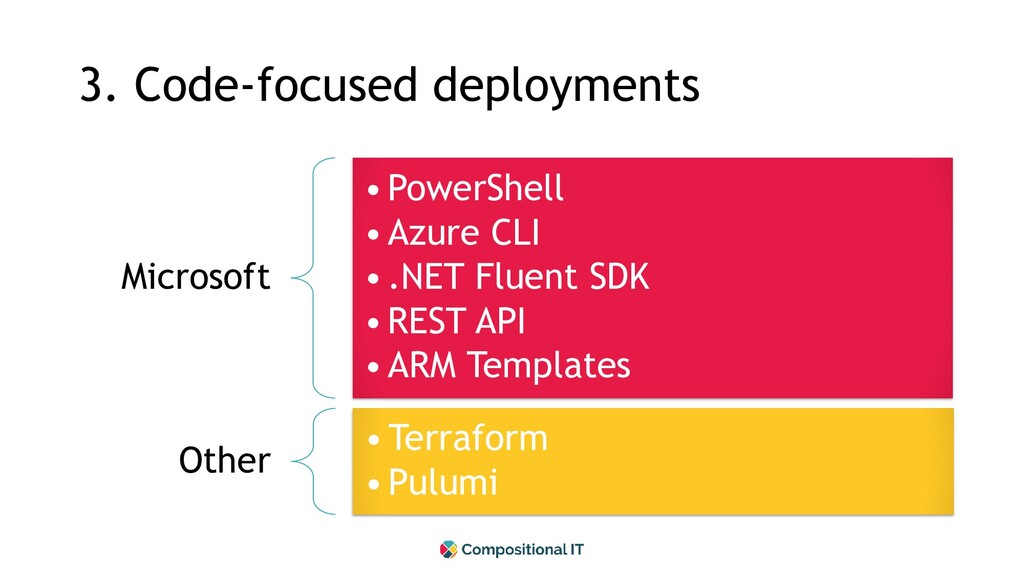 3. Code-focused deployments Microsoft •PowerShe...