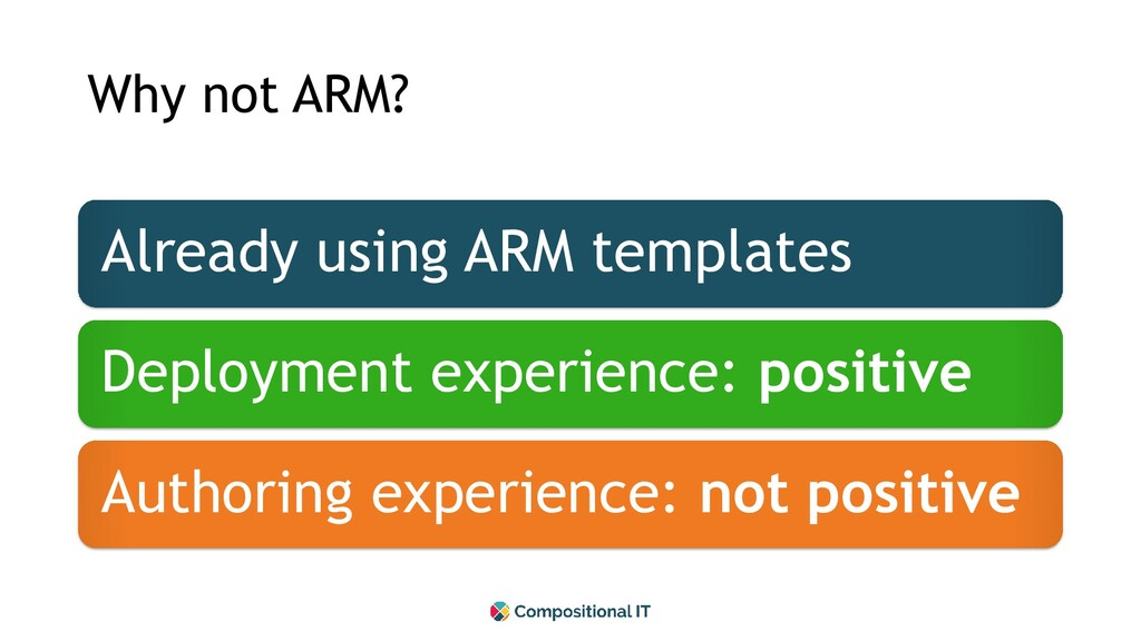 Why not ARM? Already using ARM templates Deploy...