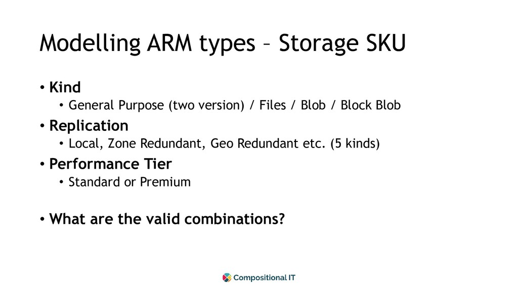 Modelling ARM types – Storage SKU • Kind • Gene...