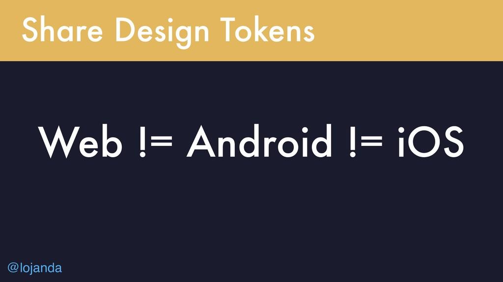 @lojanda Share Design Tokens Web != Android != ...