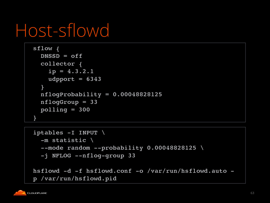 Host-sflowd 63 iptables -I INPUT \! -m statistic...