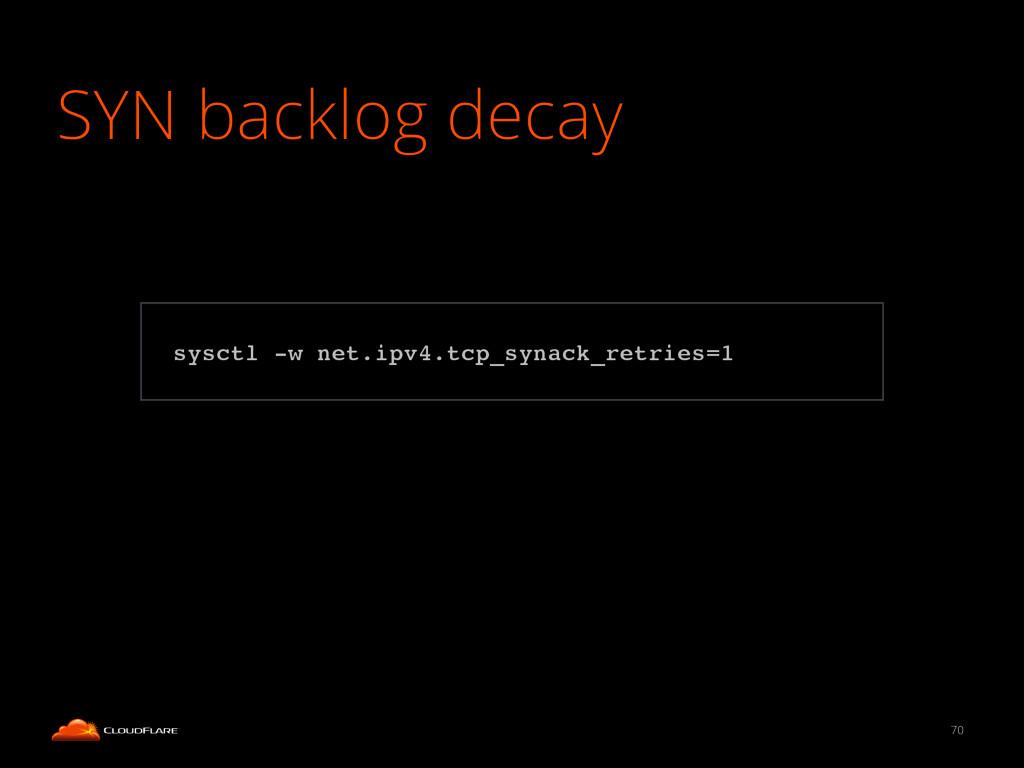 SYN backlog decay 70 ! sysctl -w net.ipv4.tcp_s...