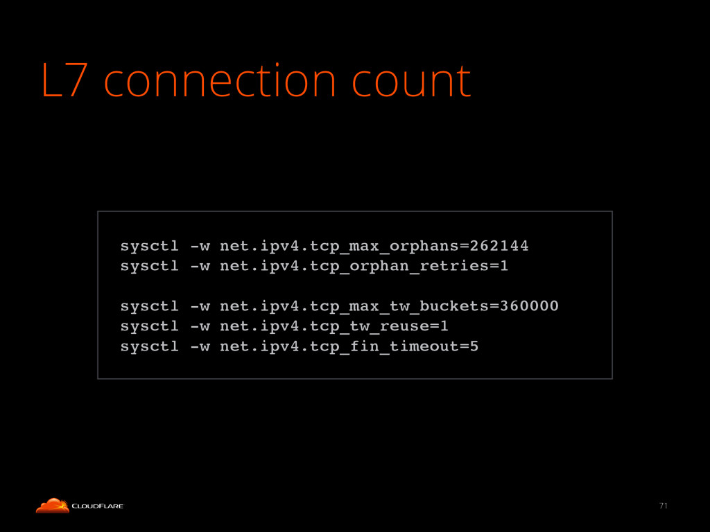 L7 connection count 71 ! sysctl -w net.ipv4.tcp...