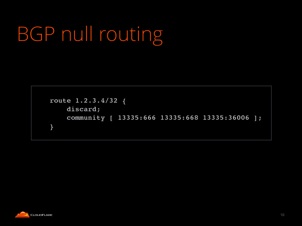 BGP null routing 10 ! route 1.2.3.4/32 {! disca...