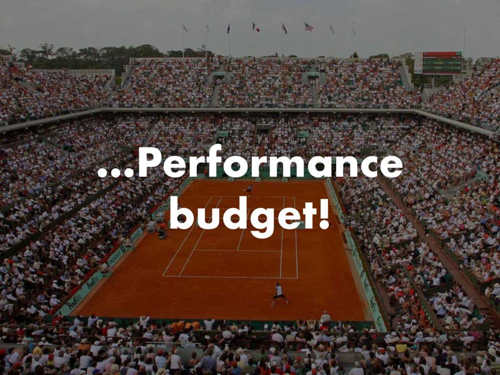 …Performance budget!