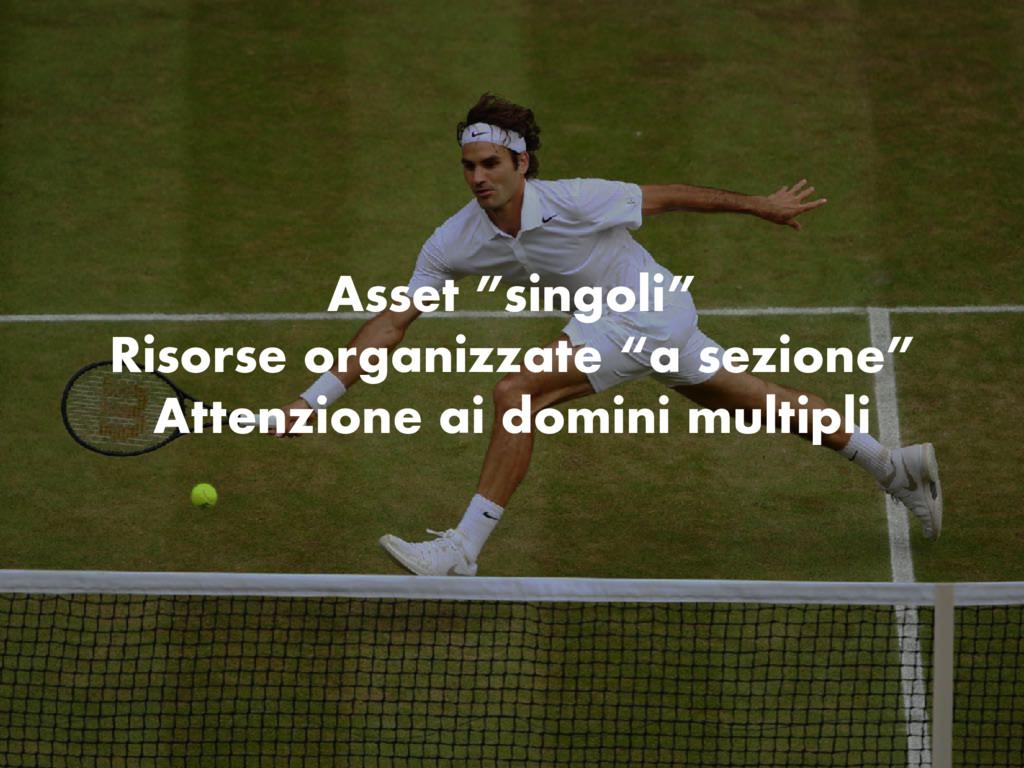 """Asset """"singoli"""" Risorse organizzate """"a sezione""""..."""