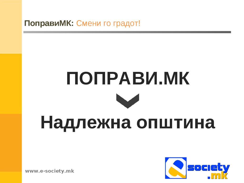 www.e-society.mk ПоправиМК: Смени го градот! ПО...