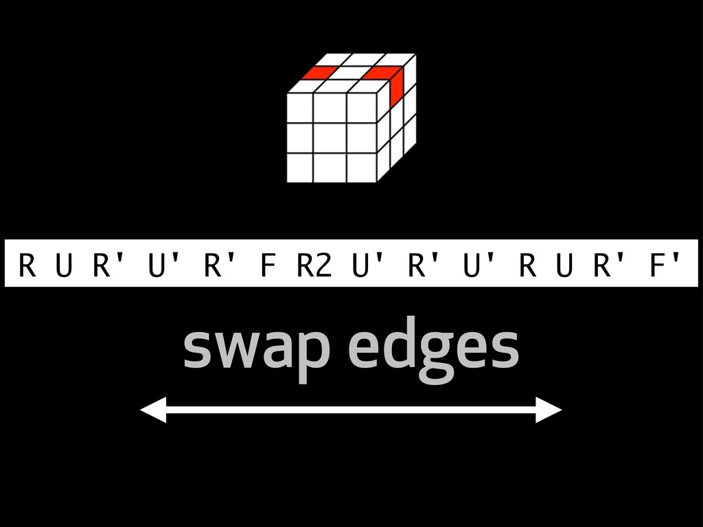 R U R' U' R' F R2 U' R' U' R U R' F' swap edges