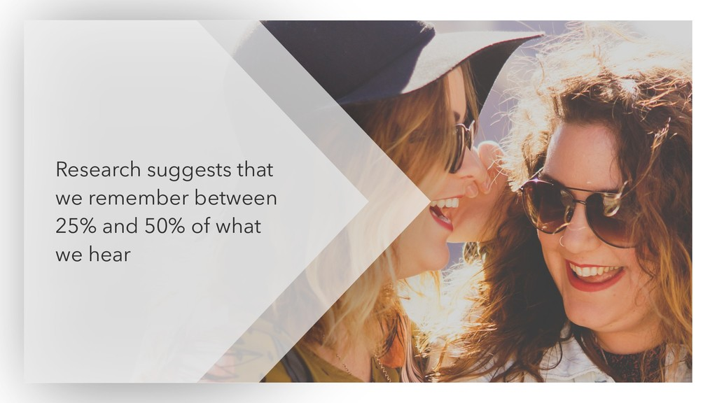 Research suggests that we remember between 25% ...