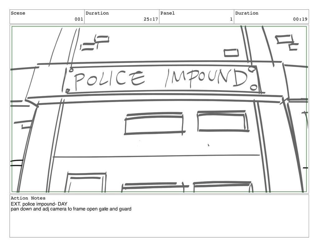 Scene 001 Duration 25:17 Panel 1 Duration 00:19...