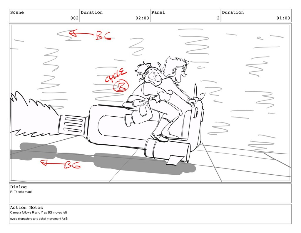 Scene 002 Duration 02:00 Panel 2 Duration 01:00...