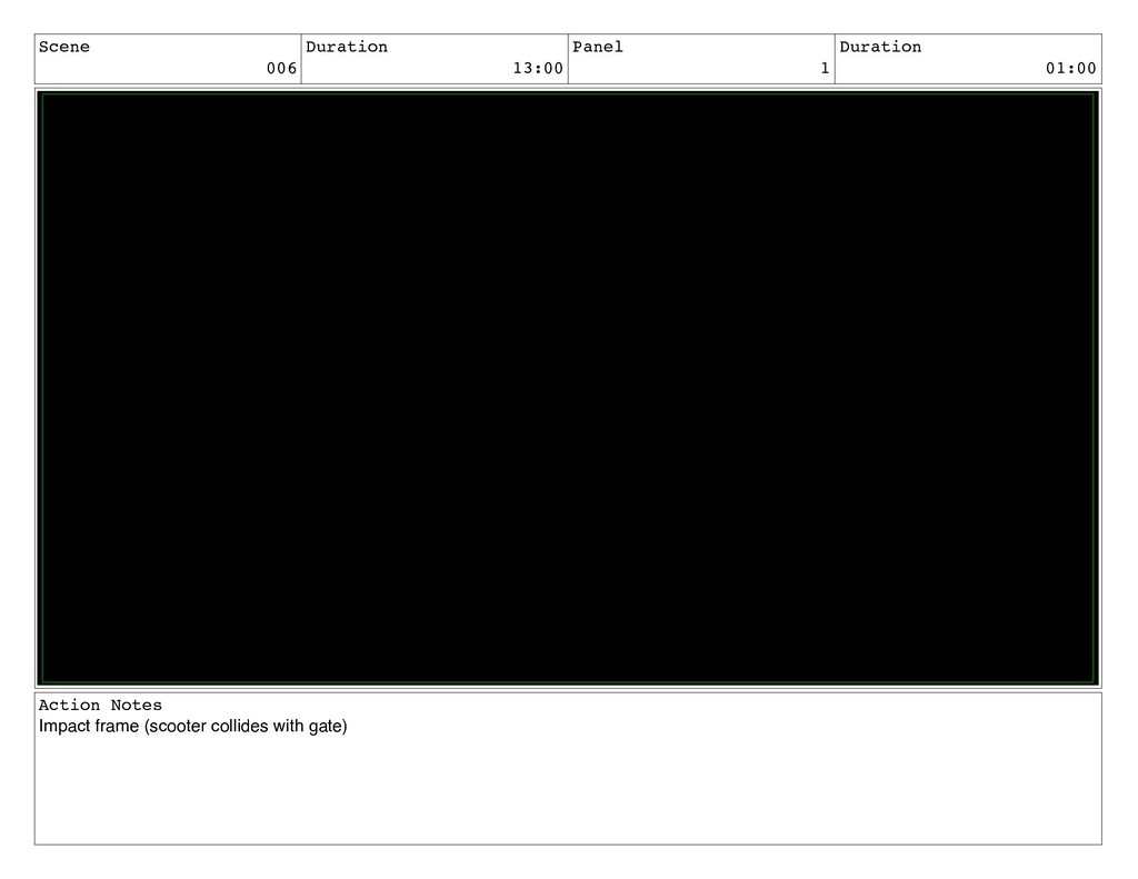 Scene 006 Duration 13:00 Panel 1 Duration 01:00...