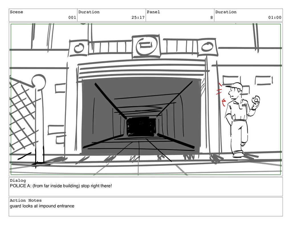 Scene 001 Duration 25:17 Panel 8 Duration 01:00...