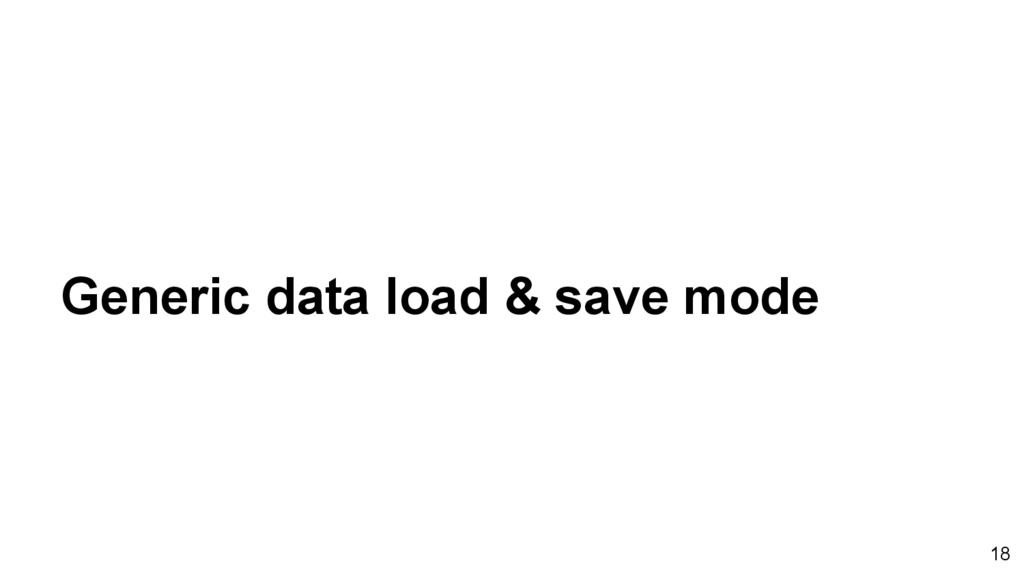 Generic data load & save mode 18