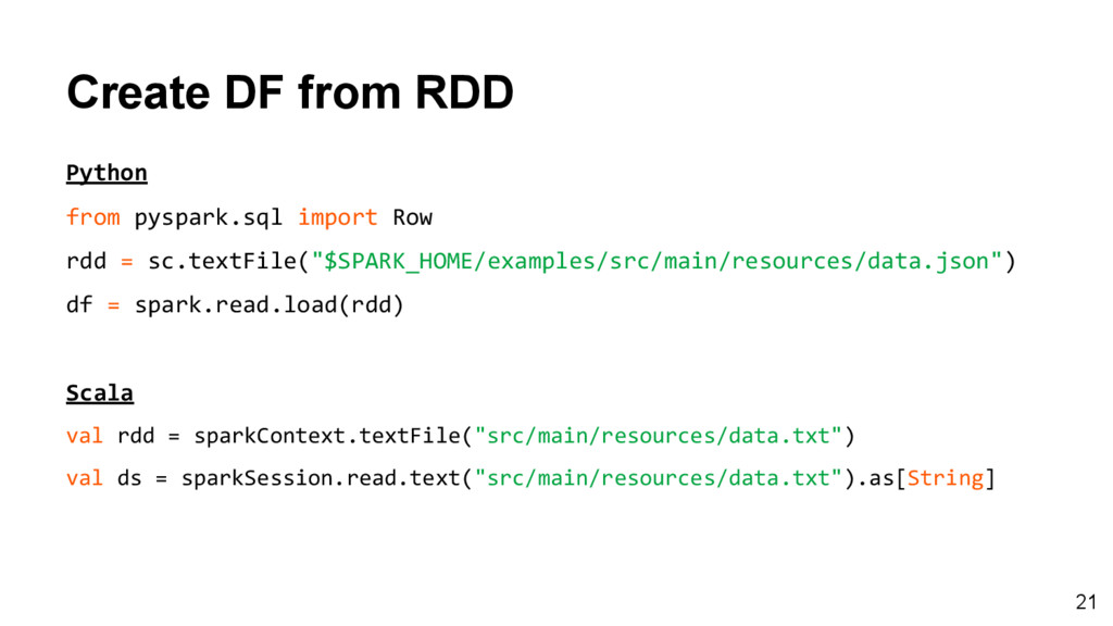 Create DF from RDD Python from pyspark.sql impo...