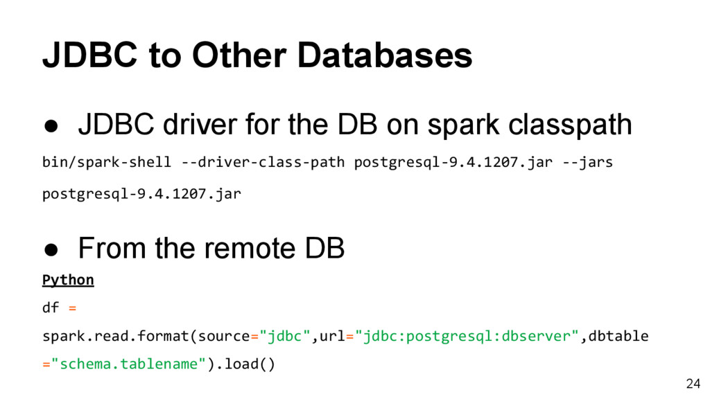 JDBC to Other Databases ● JDBC driver for the D...