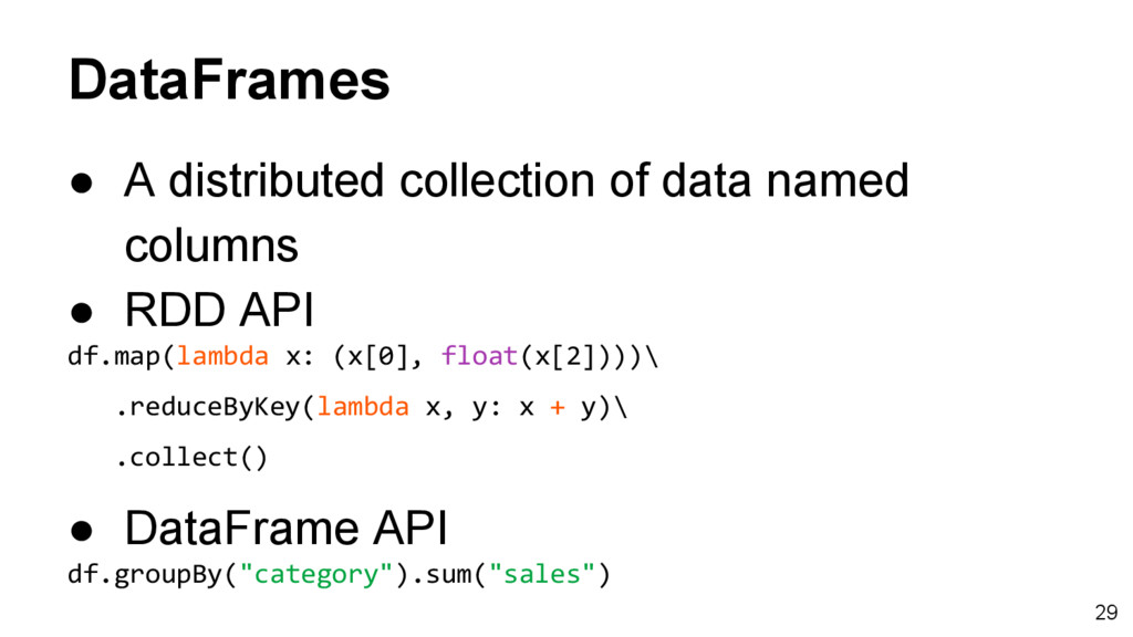 DataFrames ● A distributed collection of data n...