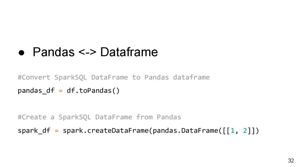 ● Pandas <-> Dataframe #Convert SparkSQL DataFr...