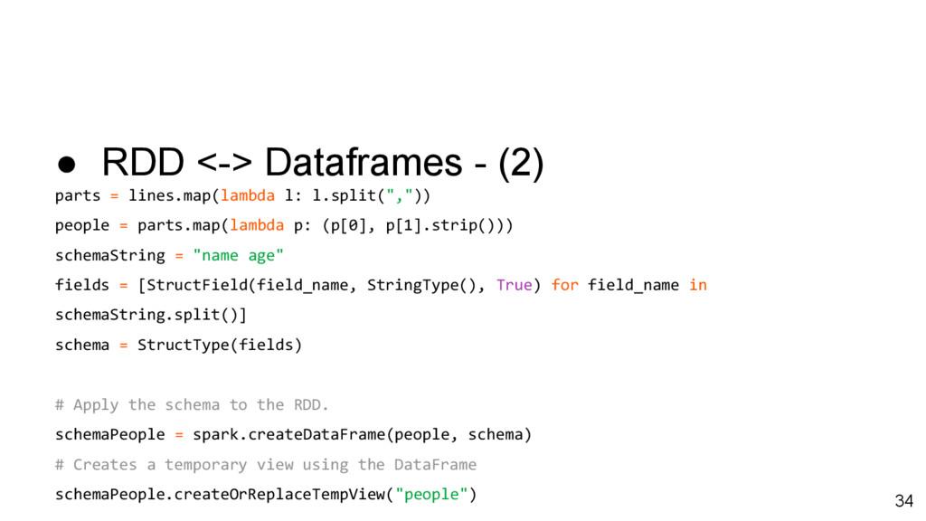 ● RDD <-> Dataframes - (2) parts = lines.map(la...