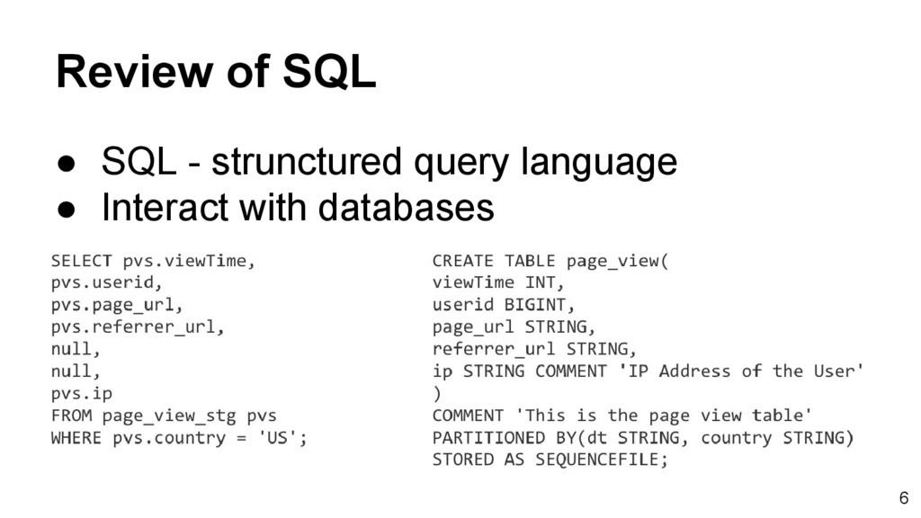 Review of SQL ● SQL - strunctured query languag...