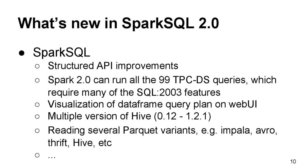 What's new in SparkSQL 2.0 ● SparkSQL ○ Structu...