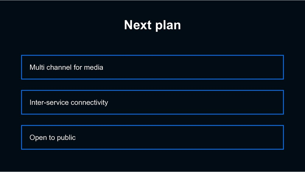 Next plan Multi channel for media Open to publi...