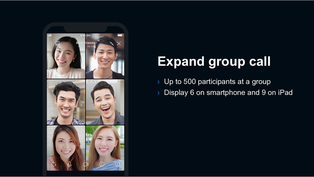 › Up to 500 participants at a group › Display 6...