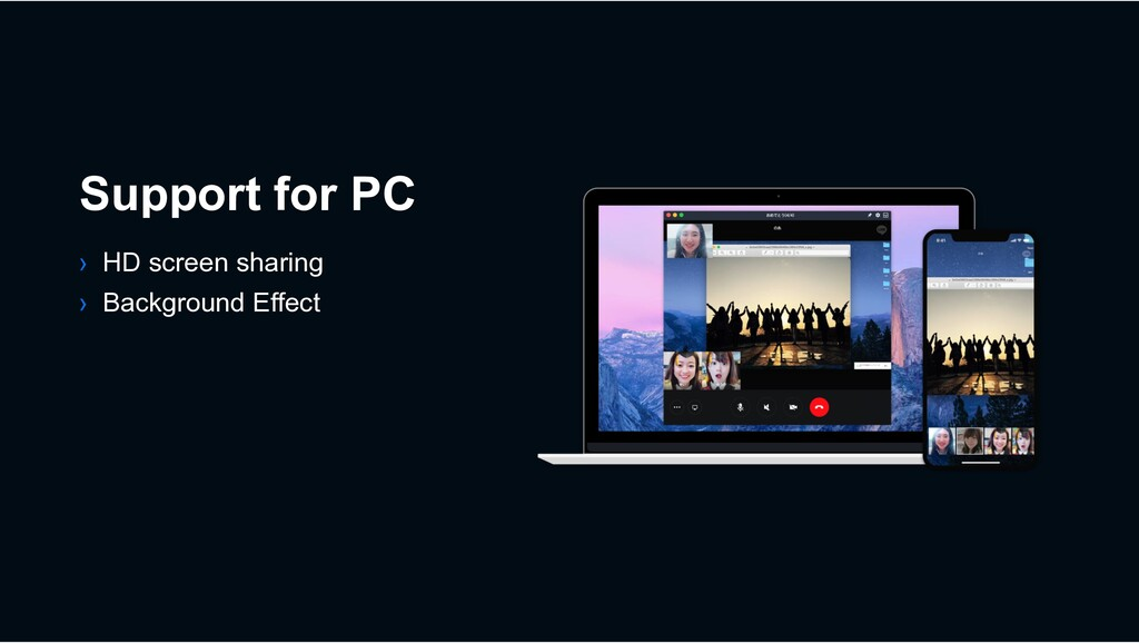 Support for PC › HD screen sharing › Background...