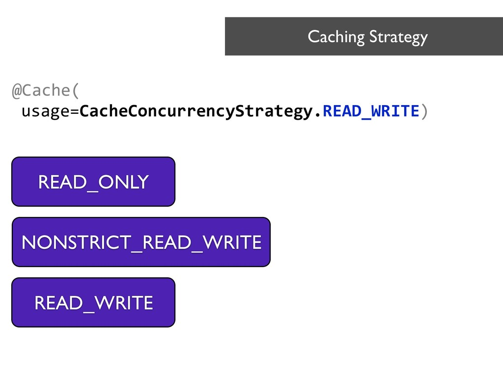 @Cache( usage=CacheConcurrencyStrategy.READ_WRI...