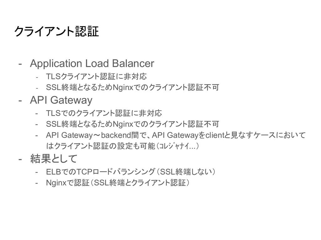 クライアント認証 - Application Load Balancer - TLSクライアン...