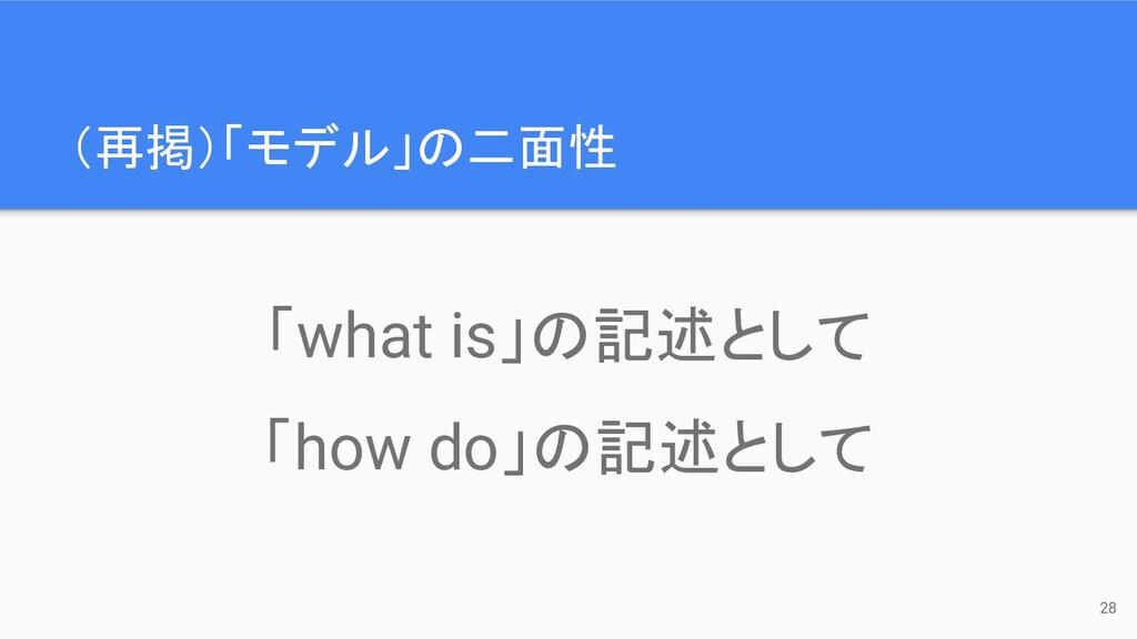 (再掲)「モデル」の二面性 28 「what is」の記述として 「how do」の記述として