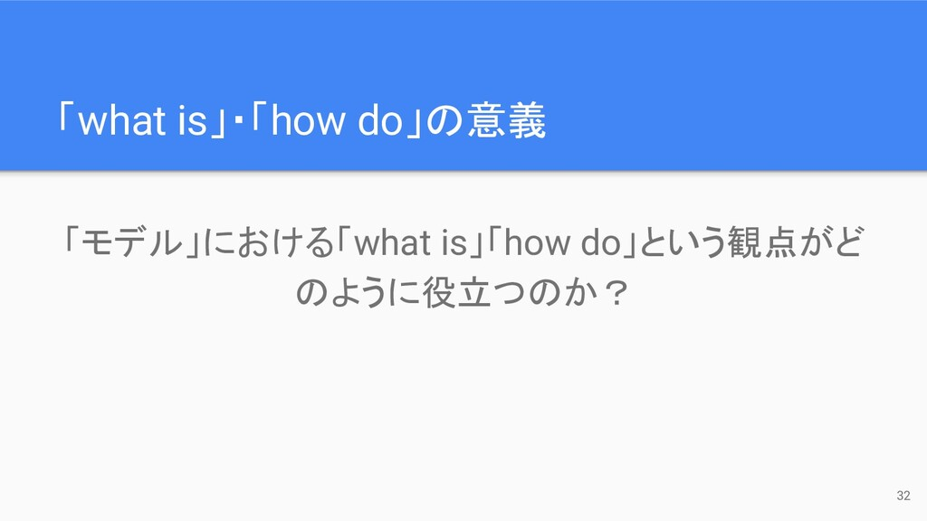 「what is」・「how do」の意義 32 「モデル」における「what is」「how...
