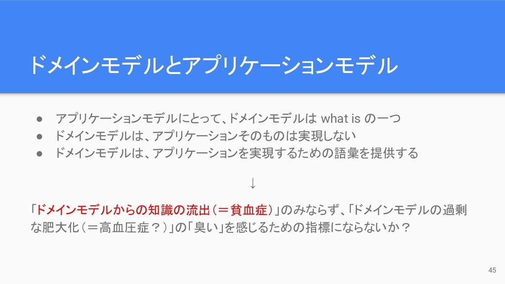 ドメインモデルとアプリケーションモデル 45 ● アプリケーションモデルにとって、ドメインモデ...