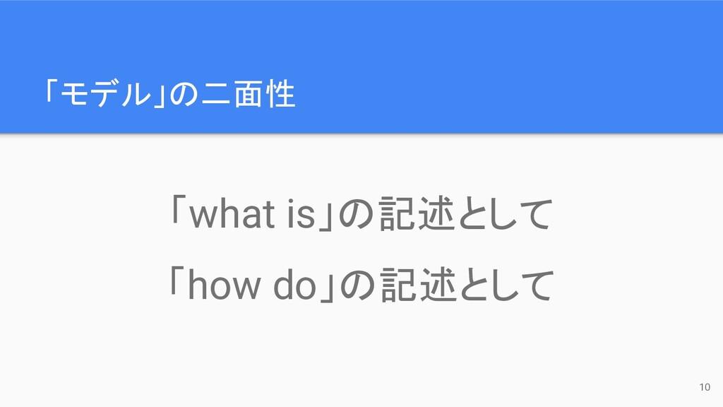 「モデル」の二面性 10 「what is」の記述として 「how do」の記述として