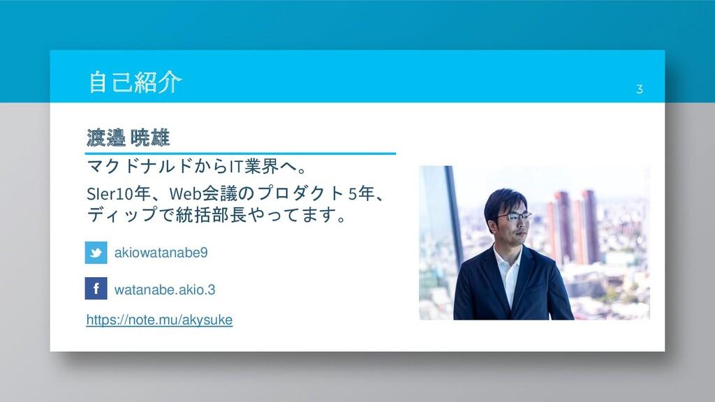自己紹介 3 akiowatanabe9 https://note.mu/akysuke wa...