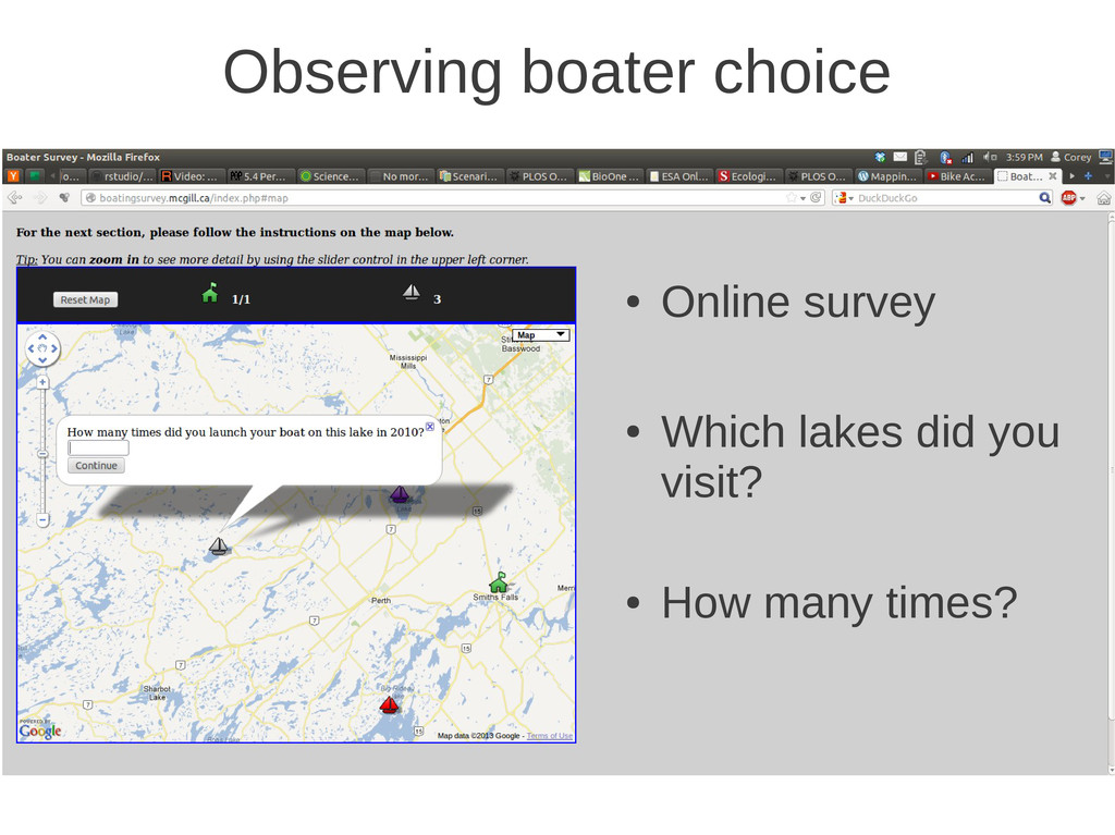 Observing boater choice ● Online survey ● Which...