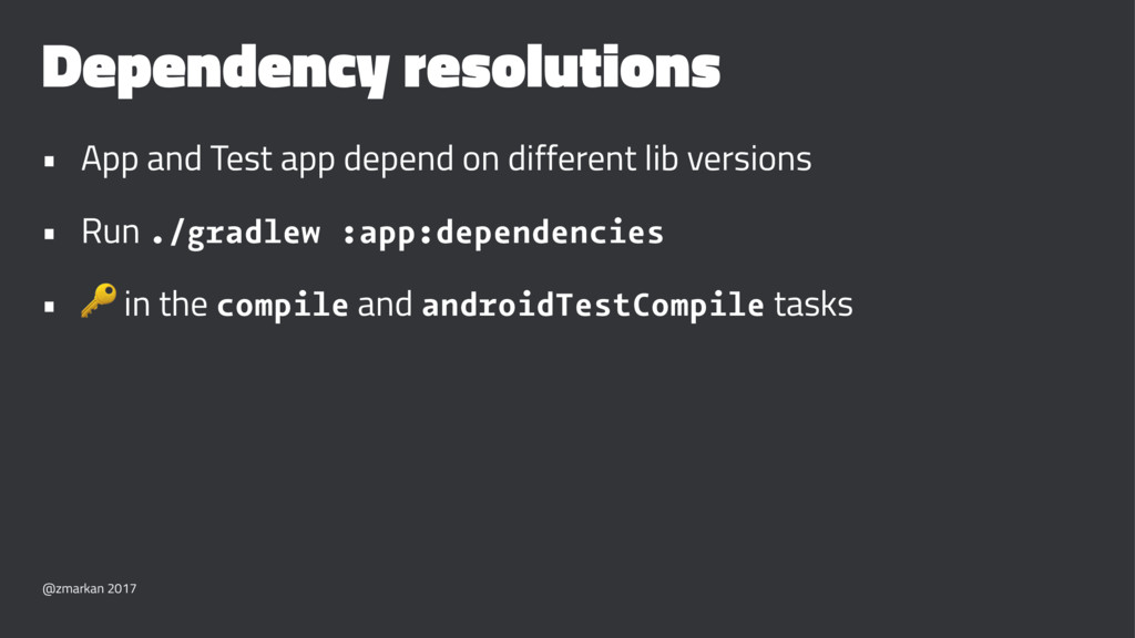 Dependency resolutions • App and Test app depen...
