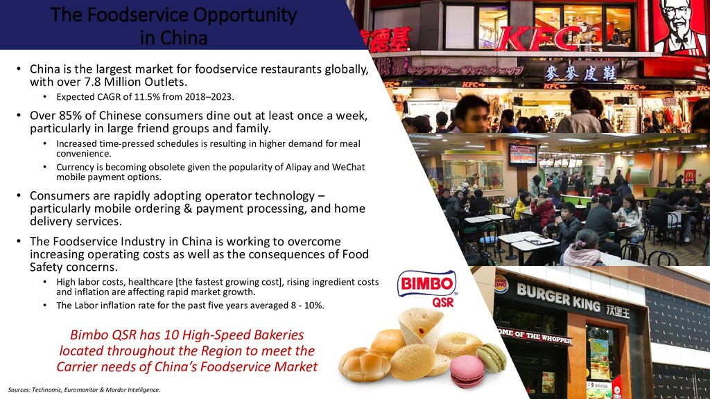 The Foodservice Opportunity in China • China is...