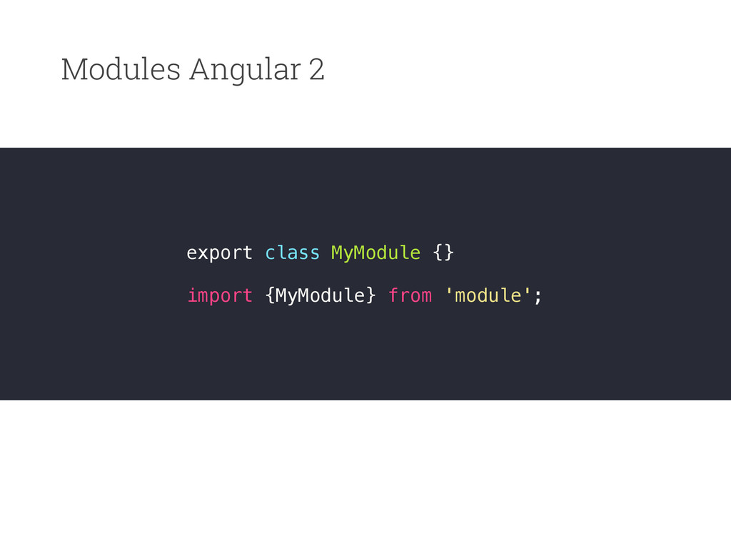 Modules Angular 2 export class MyModule {} impo...