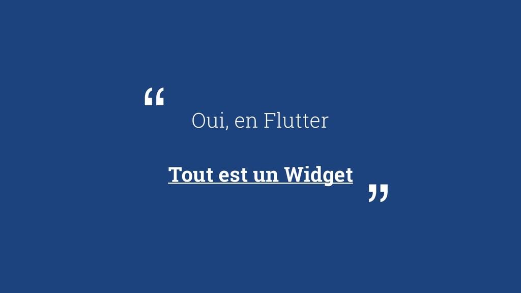 """Oui, en Flutter Tout est un Widget """" """""""