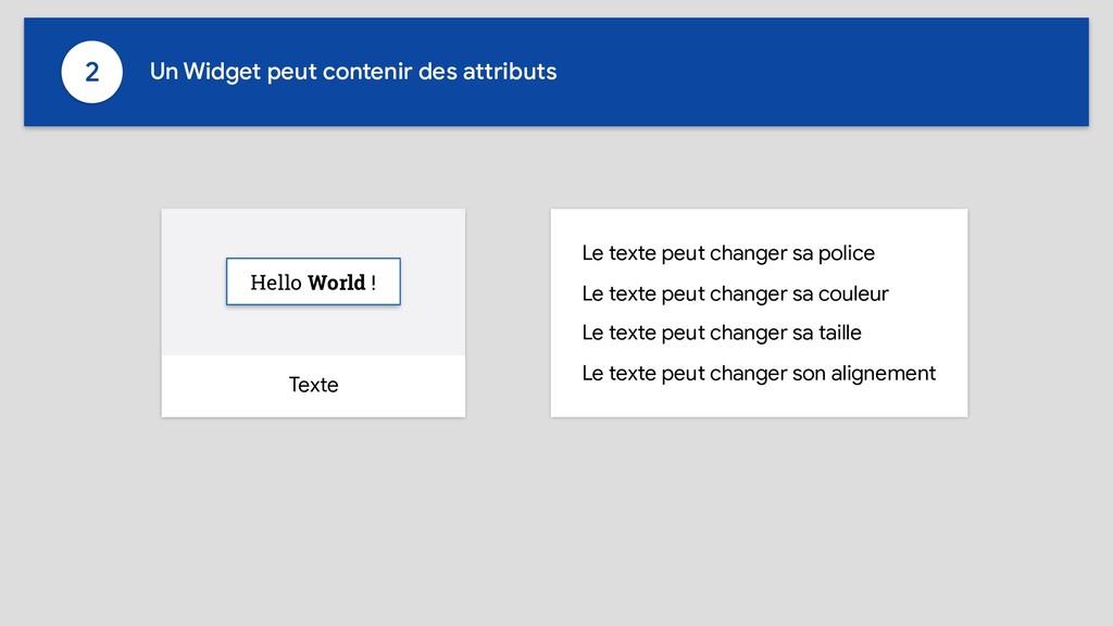 Texte Hello World ! Le texte peut changer sa po...