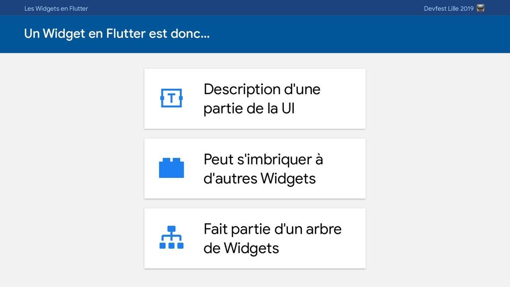 Les Widgets en Flutter Devfest Lille 2019  Un W...
