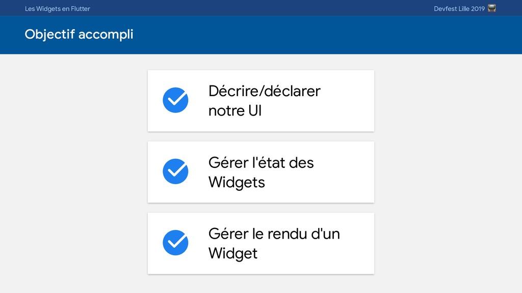 Les Widgets en Flutter Devfest Lille 2019  Obje...
