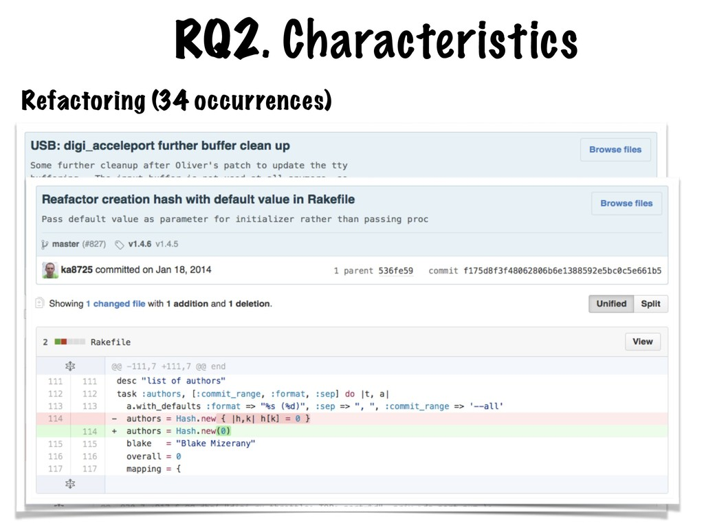 RQ2. Characteristics Refactoring (34 occurrence...